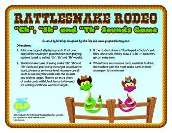 Worksheets Collect The Pictures That Begin Ch And Sh rattlesnake roundup ch sh and th sounds game initials a fun card for targeting at the word phrase or sentence level students work to see who can colle