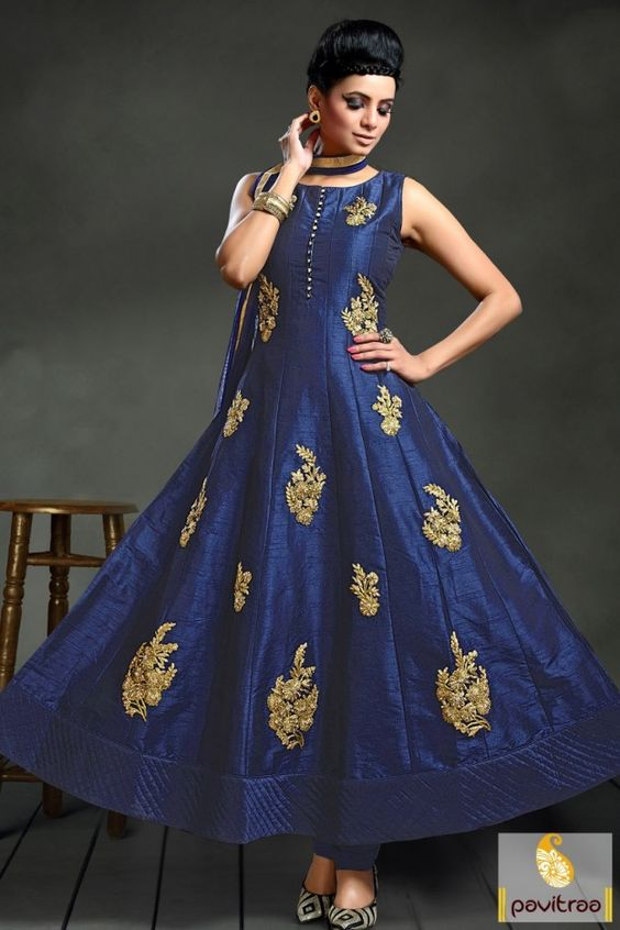 New fresh and beautiful royal blue anarkali suit dress online