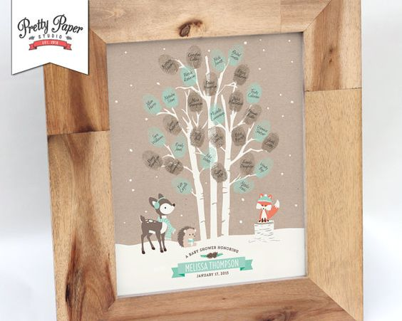Thumbprint tree guestbook winter woodland baby shower for Baby shower tree decoration
