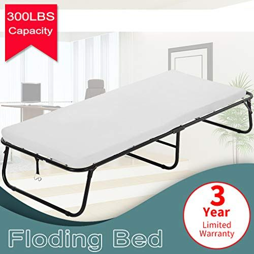 Dkeli Folding Bed Guest Rollaway Bed Frame With 3 Inch Comfort Foam Mattress Heavy Duty 300lbs Capacity Twin Size Bed Extra Protable Flodaway Camping Cots For A Roll Away Beds Twin