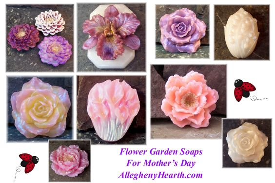 Beautiful Flower Garden Soaps by Soapsmith, Perfect for Mother's Day!  available for purchase at www.alleghenyhearth.com