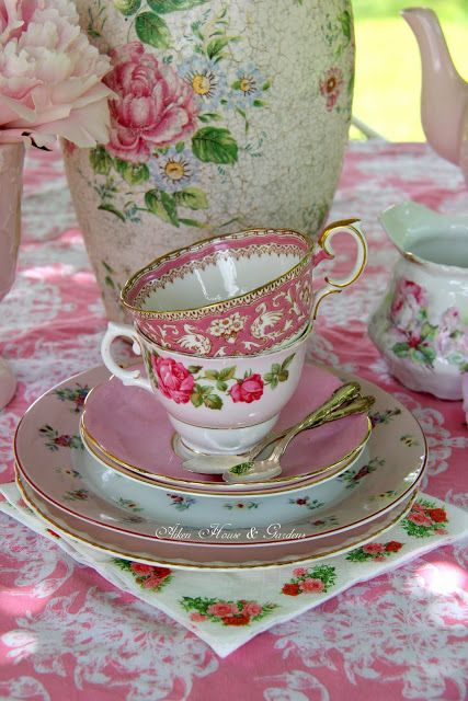 Aiken House & Gardens: Sunday Afternoon Tea in the Terrace ( Pretty pink teacups)
