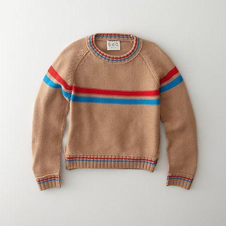 sea.  handknit striped pullover sweater.