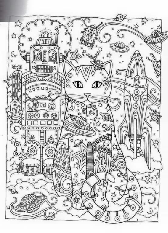 Advanced Cat Coloring Pages : Coloring creative and kittens on pinterest