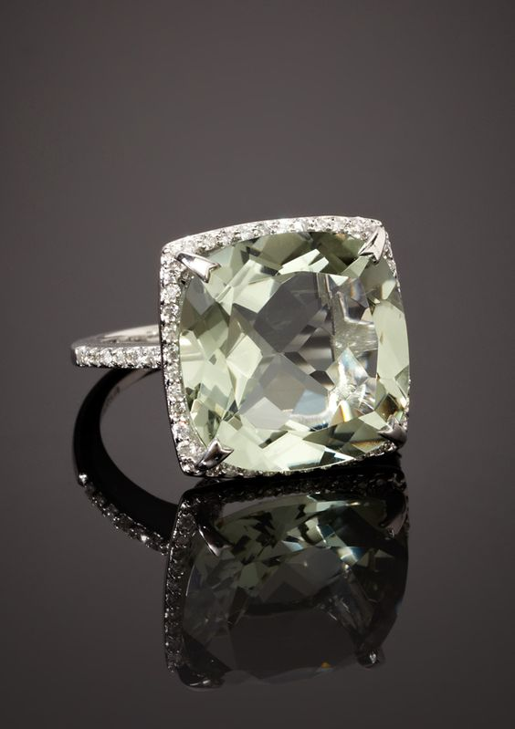 Oh my goodness this is beautiful. BH Multi Color- Diamond And Green Amethyst Ring  $638.00 #ring #jewelry: