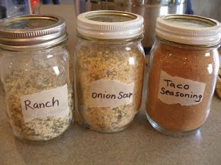 Home made ranch, onion soup and taco seasonings