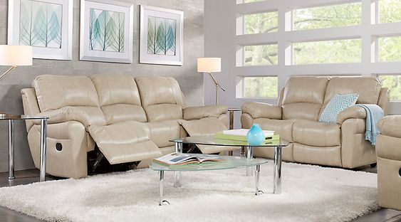 Vercelli Stone Leather 3 Pc Living Room From Furniture Living Room Leather Living Room Diy Living Room White