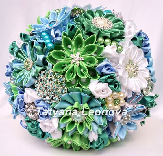 Wedding Bouquet Brooch bouquet green blue emerald Silver by LIKKO