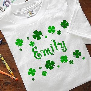 Cute personalized kids apparel for St. Patrick's Day! You can put the kids in these for cute photos at the parade! #Irish #StPatricksDay
