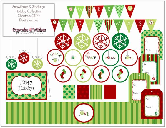 Cupcake Wishes & Birthday Dreams: {FREE PRINTABLE} Snowflakes & Stockings Christmas Colletion 2010
