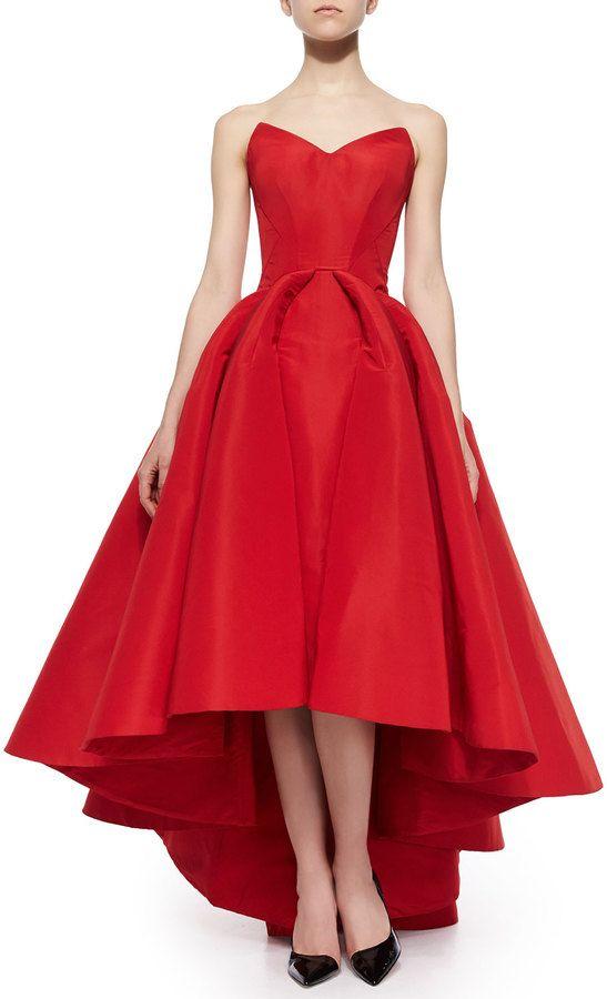 Zac Posen Strapless Cat-Ear-Bodice High-Low Gown dress fashion ...