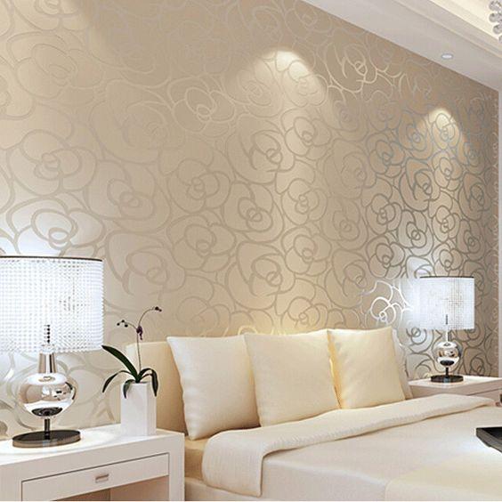 Papel de parede bege sala pesquisa google decor - Papel decorativo para paredes ...