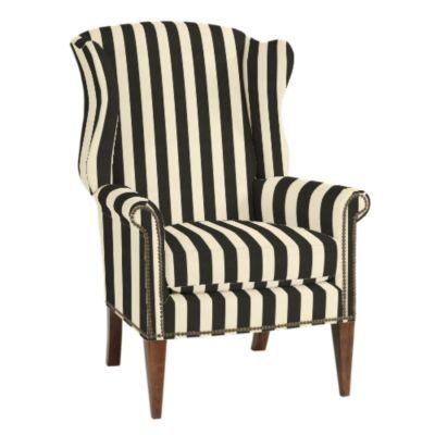 black and white wing chairs found on - Black And White Striped Chair