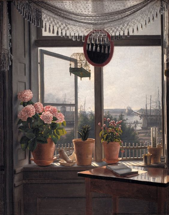"""Martinus Rørbye (Danish, 1803-1848) """"View from the Artist's Window"""", 1825  ~ Oil on canvas:"""