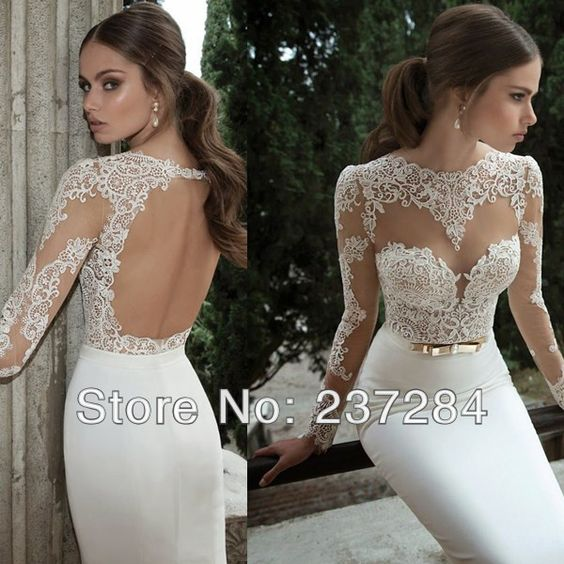 Elegant long sleeves backless mermaid wedding dress for Wedding dresses without sleeves
