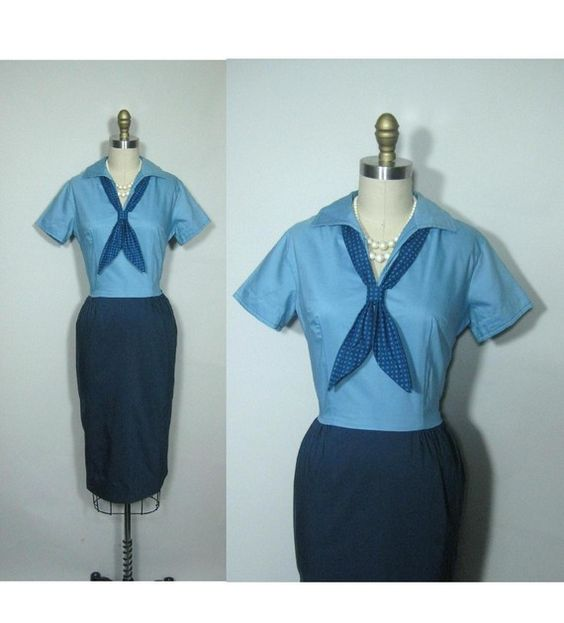 RESERVED 60's Blue Sailor Cotton Novelty by TheVintageStudio