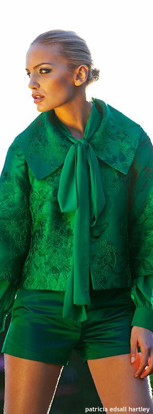 Green Silk Dress Short Set.