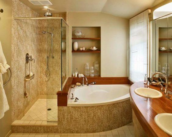 petite baignoire d' angle, design compacte de baignoire balnéo asymétrique , deux vasques encastrées ovales