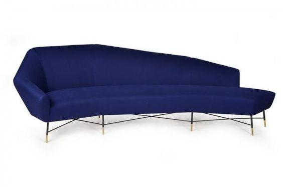 """PRODUZIONE ITALIANA - Grande divano curvo con struttura in tondino - metallico[anni 60], mis en vente lors de la vente """"Design"""" à Sant'Agostino Casa d'Aste"""