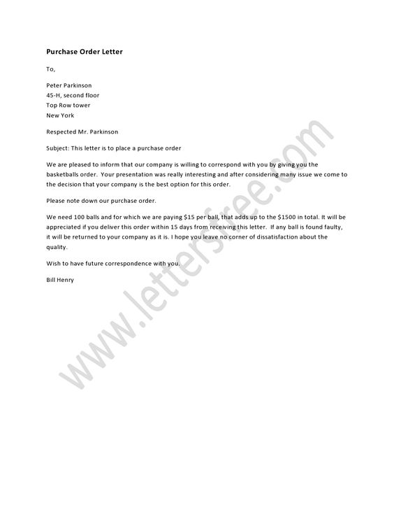 A Purchase Order Letter Deals With Placing An Order About