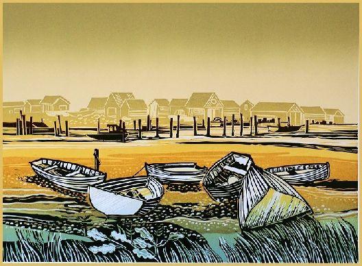 """Boats at Low Tide"" Linocut by Rob Barnes. http://www.robbarnesart.co.uk/ Tags: Linocut, Cut, Print, Linoleum, Lino, Carving, Block, Woodcut, Helen Elstone, Landscape, Boats, Buildings, Sea"