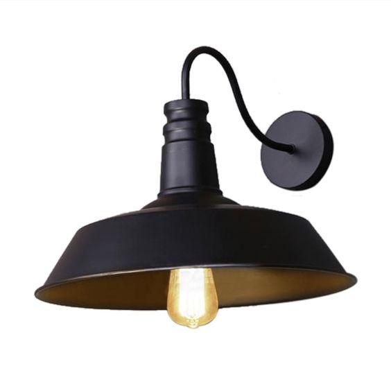 fuloon retro industriel edison simplicit applique lampe murale antique avec abat jour de. Black Bedroom Furniture Sets. Home Design Ideas