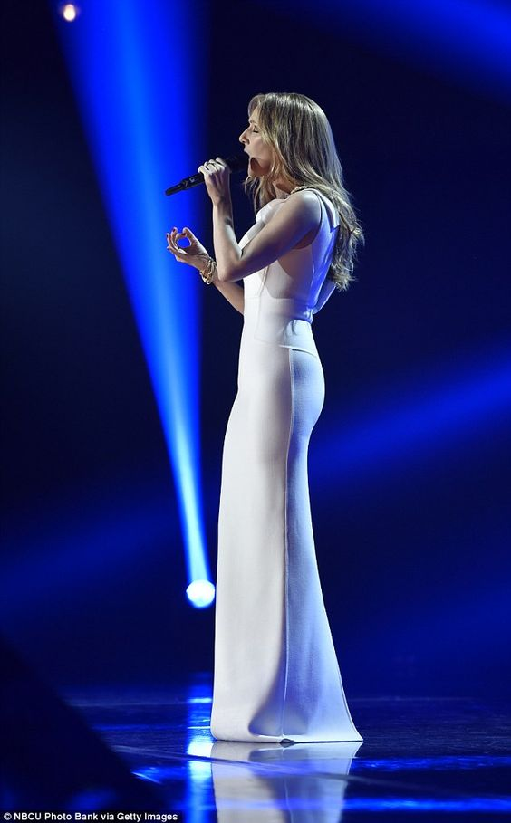 Christmas tunes: Céline performed a moving rendition of traditional carols O Holy Night and Happy Xmas (War is Over)
