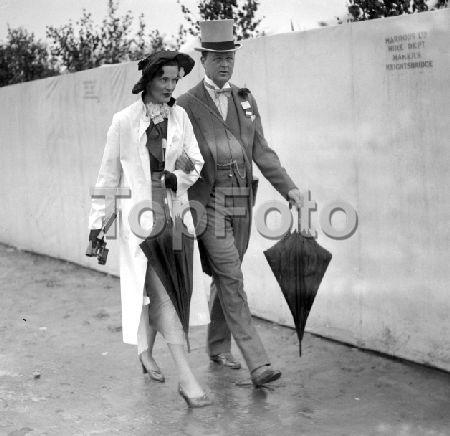 The Duke & Duchess of Marlborough at Royal Ascot (c. 1935). John Albert William Spencer-Churchill, 10th Duke of Marlborough was the first-born son of Consuelo Vanderbilt, Duchess of Marlborough.