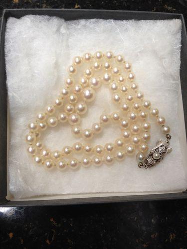 Vintage Estate Mikimoto Pearl Necklace 20 Quot Silver Clasp
