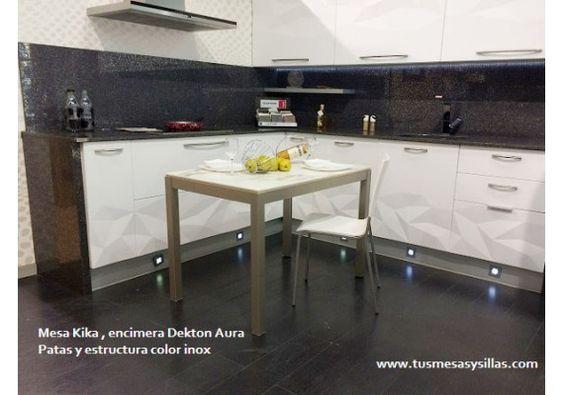 Mesa de cocina o comedor extensible kika de vimens con - Oferta mesa cocina ...
