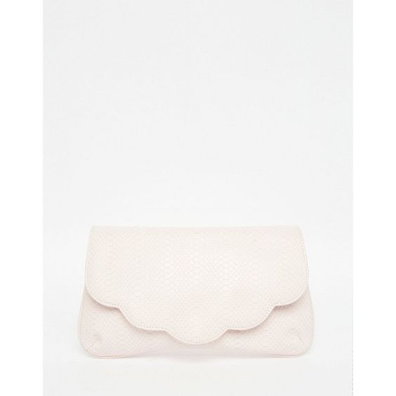 ASOS Scallop Snake Clutch Bag (€15) ❤ liked on Polyvore featuring bags, handbags, clutches, pink, asos handbags, pink handbags, white clutches, fold-over clutches and fold over purse