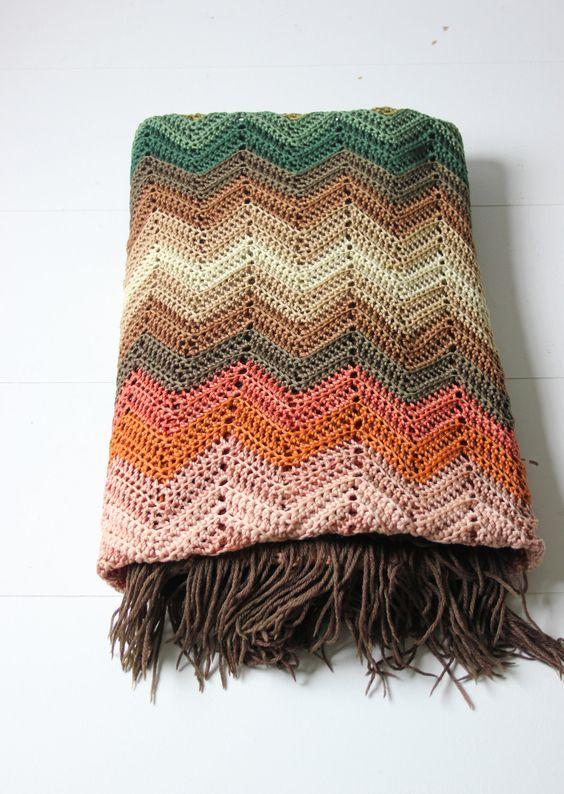 Chevron crochet afghan, woven granny blanket in warm ...