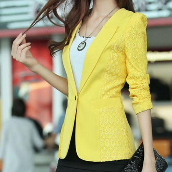 Women's 2014 spring slim outerwear suit fashion lace patchwork long-sleeve   Didiar Young women blazers blaser Fashion top sale $30.48