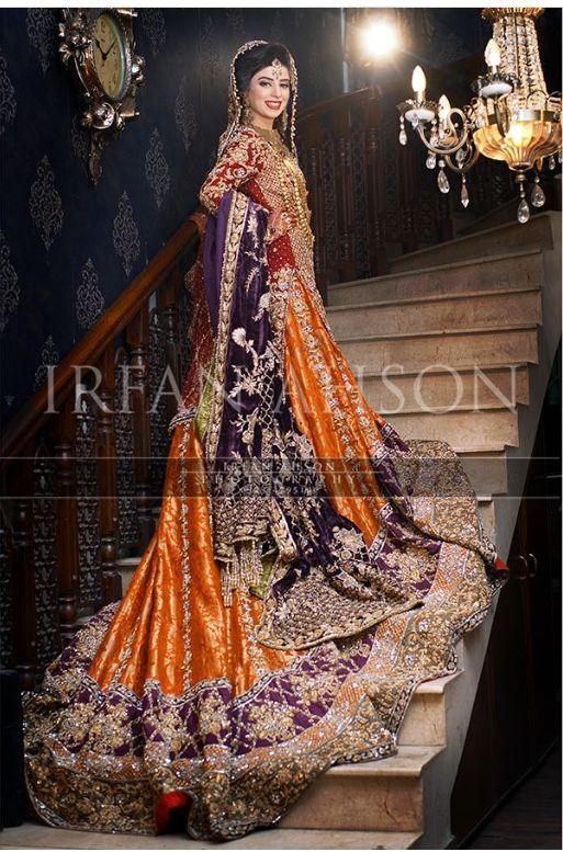 Purple Orange Combination Pakistani Wedding Dress Wow Its