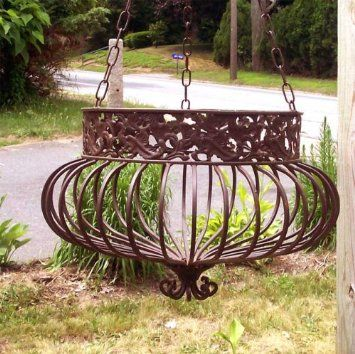 Set of 3 victorian hanging planters wrought iron rust patio lawn garden plant - Leuningen smeedijzeren patio ...