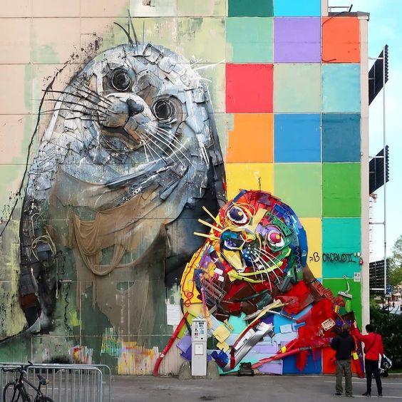 """Half Seals"" Kristiansand, Norway: new 3d ecosculpture by Portuguese artist Bordalo II for Deconform."
