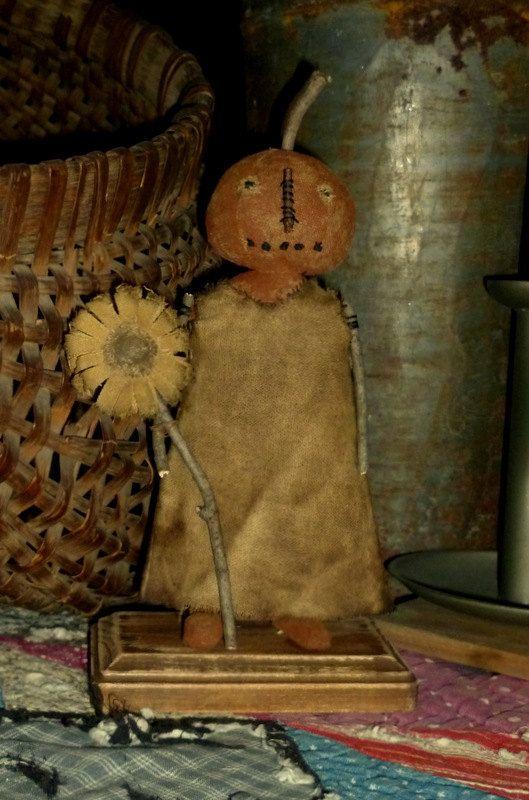 Primitive Pumpkin Doll  Jill  rag stuffed  by FolkArtandPrimitives