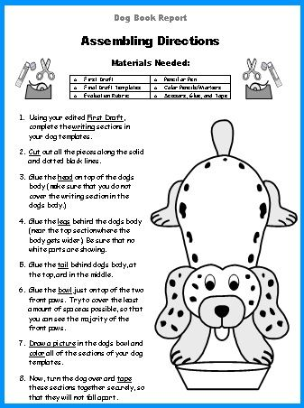 Dog Worksheets Printable For Dogs To Do: Dog Book Report Project  dog shaped templates  printable    ,