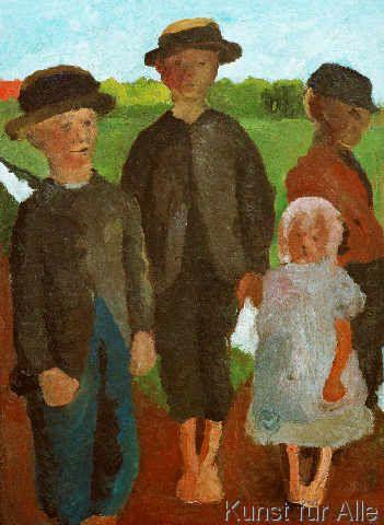 Paula Modersohn-Becker - Figurative Painting - German Expressionism - Four Children - Vier Kinder am Moorkanal