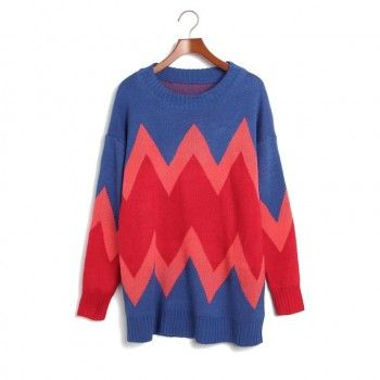 Collision color wave pattern sweater