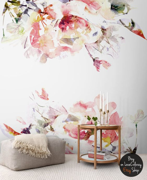 Spring floral removable wallpaper watercolor wall mural Floral peel and stick wallpaper