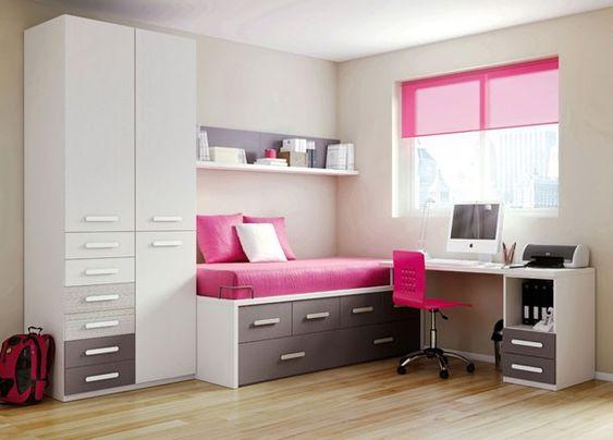 habitacin infantil con cama compacto de cajones y arrastre nido armario de puertas