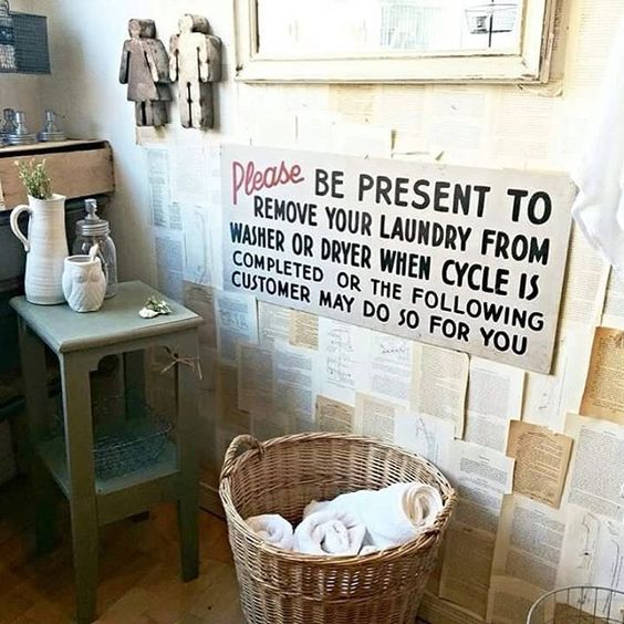 {Laundry} with the help of our friends at local Almonte Sign Co. we were able to reproduce this original sign found in a Boston laundromat. #universitydays #timbarnmarketfinds #laundryroom #signs #almonte