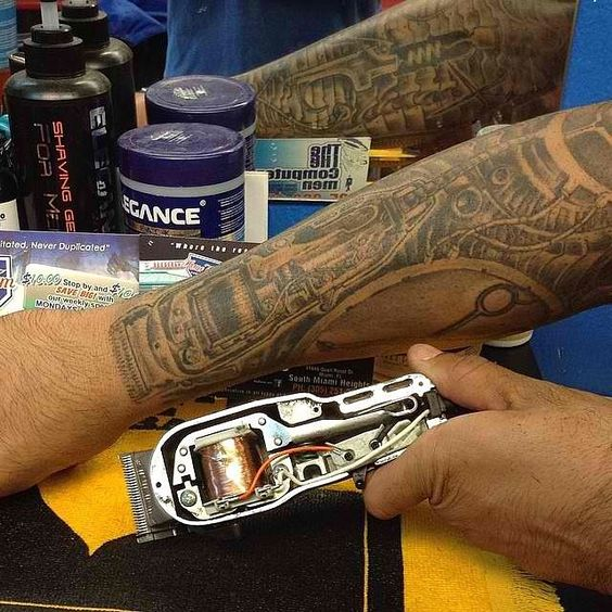 Barbers, Ps and Tattoos and body art on Pinterest