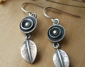tiny flower and leaf earrings, dangle earring, sterling silver, .925, hand forged, metalwork