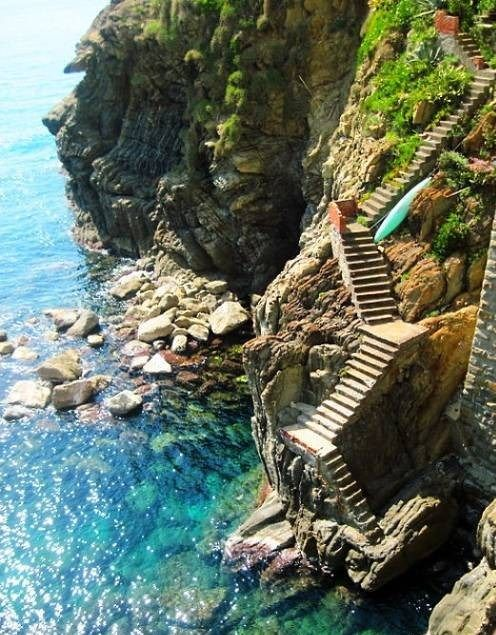 Amalfi Coast.  I think I saw this from above at a small beer bar in the old city of Dubrovnik, Coatia.  Was 95 degrees, and some kids were jumping off the steps into the water.