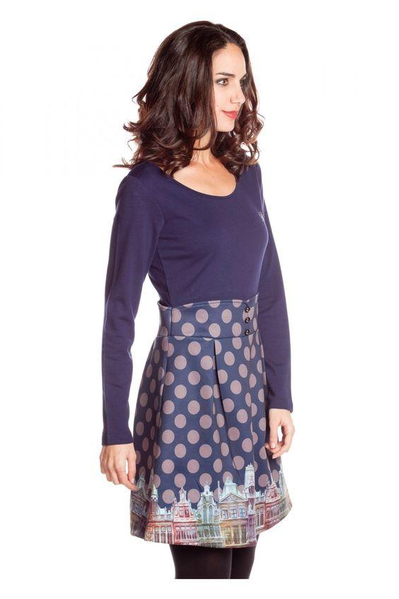 Vestidode falda evasé cintura alta - Vestidos Mujer | Rosalita McGee
