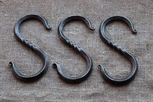 Enjoy Exclusive For 3 Large S Hooks 6 Hand Forged Metal Hanging Hooks Decorative Display Rustic Wrought Iron St In 2020 Forging Metal Wrought Iron Style Hanging Hooks