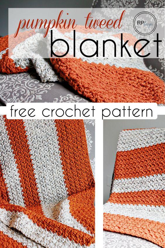 Pumpkin Tweed #Crochet Blanket Free Pattern - Rescued Paw Designs: