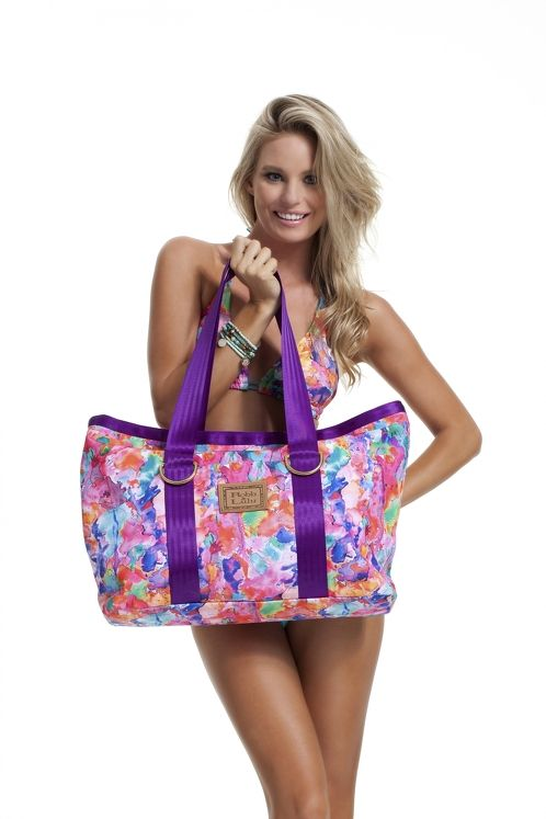 https://www.cityblis.com/7451/item/3130 | Pink Paradise Beach Tote - $194 by ROBB & LULU | Pink Paradise Tote WB0002 *Canvas printed tote with gold D-rings and leather logo feature *Hot fuchsia cotton lining with two pockets and magnetic stud to close *40cm x 48cm *Hand illustrated fabric exclusive to Robb and Lulu | #Handbags/Purse